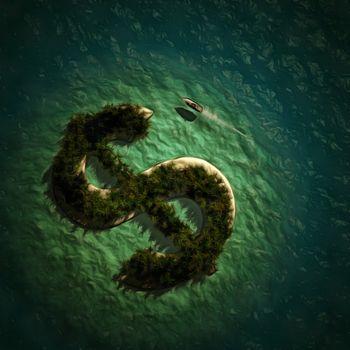 Modern art. Island in shape of dollar sign.