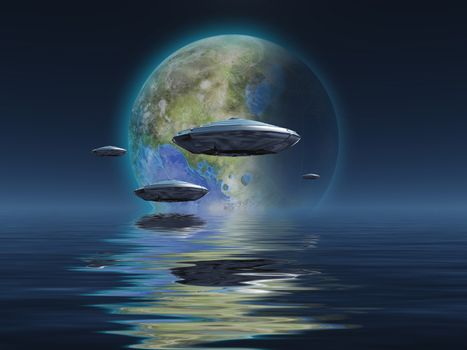Spacecrafts flies over ocean. Terraformed moon at the horizon