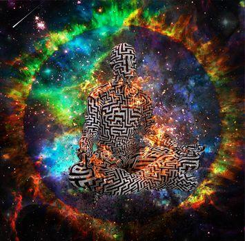 Burning Man in puzzle pattern meditates in vivid space