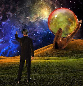 Man in suit touches sky creating ripples before empty sphere in sculpted hand