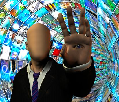 Media Security tunnel. Faceless man with eye on palm hand