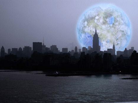 New York City. Terraformed Luna Rise. 3D rendering