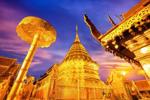 Night view of Wat Phra That Doi Suthep, Chiang Mai, Popular historical temple in Thailand.