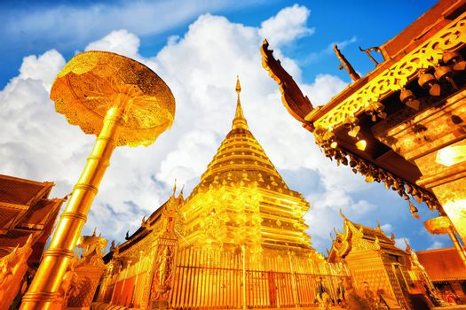 View of Wat Phra That Doi Suthep in daylight, Chiang Mai, Popular historical temple in Thailand.