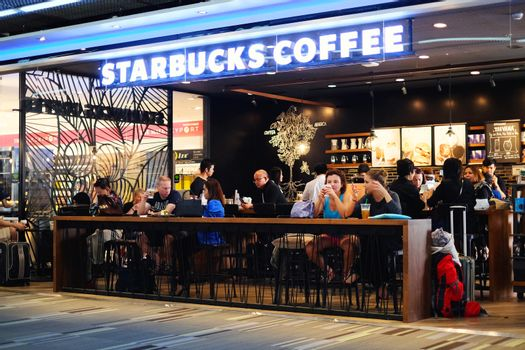 BANGKOK - SEPTEMBER 7 2016: Starbucks Coffee within Terminal 2 at Don Mueang International Airport where passengers can relax with a coffee while waiting for their flight