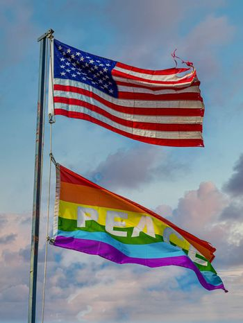 American and LGBT Rainbow Peace Flags