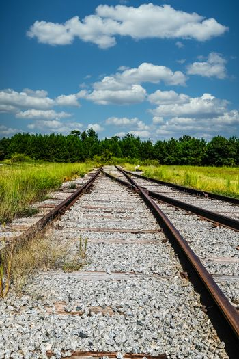 Old Abandoned Railroad Tracks Into Nowhere