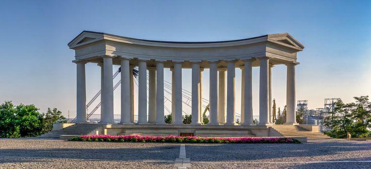 Odessa, Ukraine 06.30.2020. Vorontsov Colonnade in the historical center of Odessa, Ukraine, on a sunny summer morning