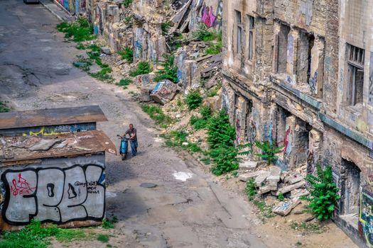 Odessa, Ukraine 06.23.2020. Ruins of the abandoned Devolanovsky descent in the historical center of Odessa, Ukraine, on a sunny summer day