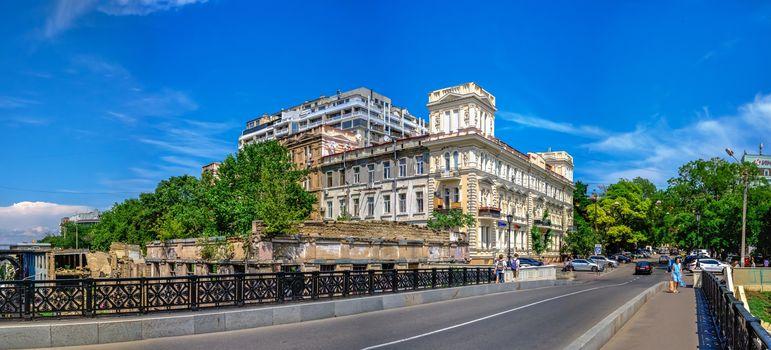 Odessa, Ukraine 06.23.2020. Old Historic Novikov Apartment House in Odessa, Ukraine, on a sunny summer day