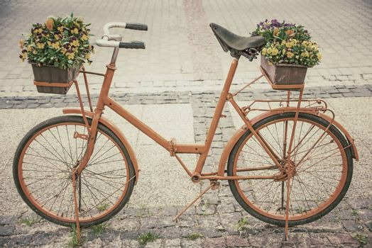 bicycle with flowers in retro style