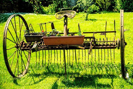 old hay turning machine