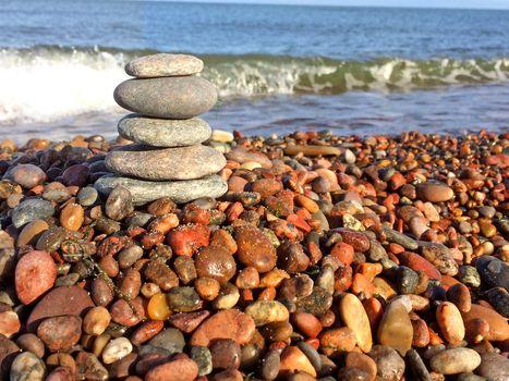 Zen stones on the beach