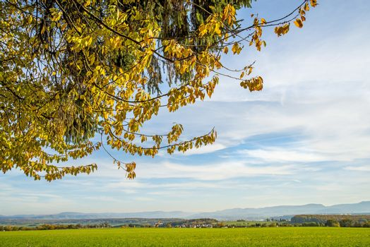 country idyll with view to German highlands