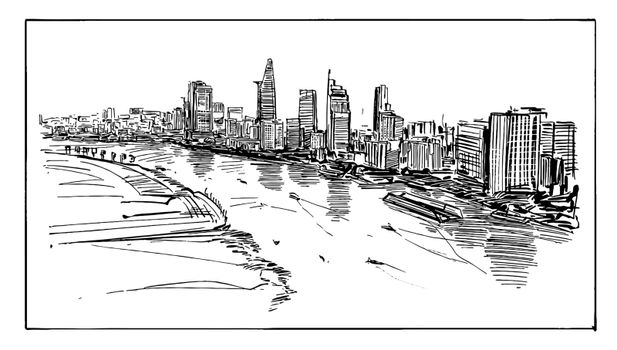 Drawing of the Ho Chi Minh cityscape at riverside in Vietnam