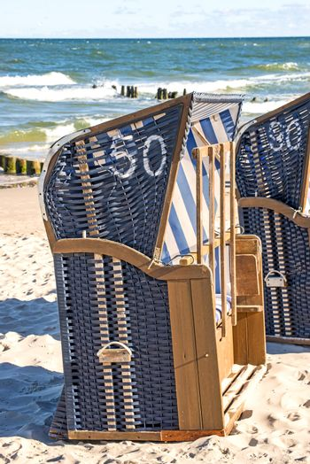 beach chairs at the Baltic Sea in Poland