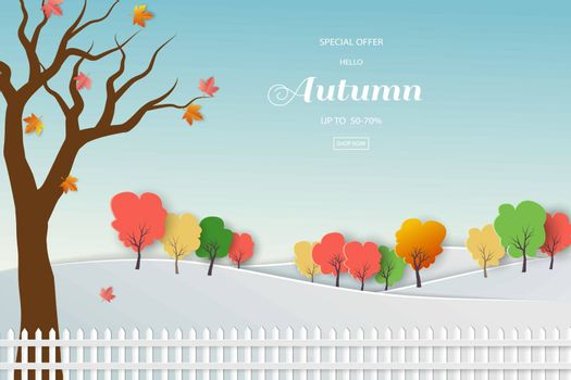 Autumn sale background with colorful leaves for shopping promotion,web banner or poster,vector illustration