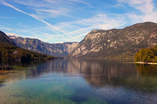 Beautiful Slovenian landscape Bohinj Lake, with turquoise water