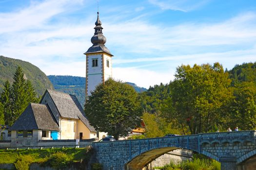 Bohinj Lake, Church of St John the Baptist with bridge