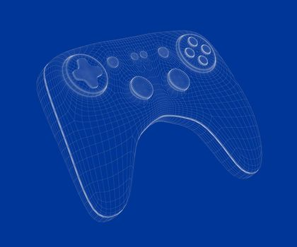 3d wire-frame model of game controller on blue background