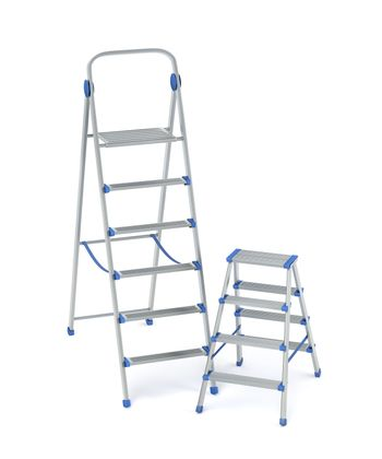Stepladders with different sizes on white background