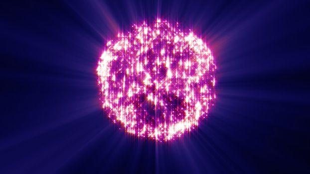 fireworks ball explosion, abstract light 3d illustration render