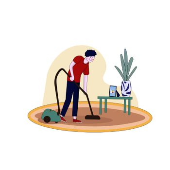 The man is vacuuming the carpet. illustration in hand-drawn cartoon style