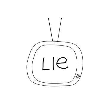 doodle style tv with the word lie on screen