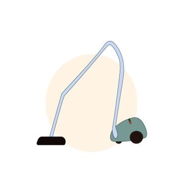 Vacuum cleaner icon in cartoon style isolated on white background. Cleaning symbol stock illustration