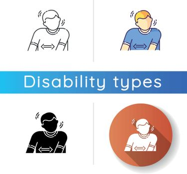Tourette syndrome icon. Patient suffer from chronic disease. Physical disability with repetitive movement. Medical condition. Linear black and RGB color styles. Isolated vector illustrations