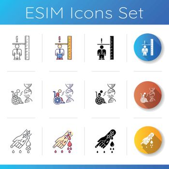 Genetic condition icons set. Adult with dawrfism. Inclusive workplace. Chronic disease. Patient with haemophilia. First aid. Linear, black and RGB color styles. Isolated vector illustrations