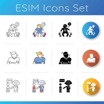 Mental condition icons set