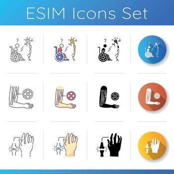 Chronic disease icons set. Multiple sclerosis. Chronic genetic medical condition. Muscular dystrophy. Autoimmune illness. Linear, black and RGB color styles. Isolated vector illustrations