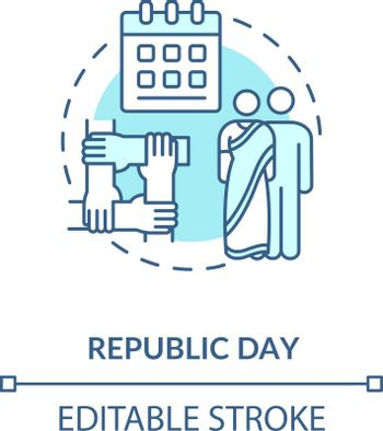 Republic day concept icon. National holiday celebration. Constitution day in India idea thin line illustration. Calendar and indian couple vector isolated outline RGB color drawing. Editable stroke