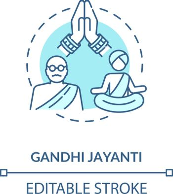 Gandhi jayanti concept icon. Indian holiday, Mahatma Gandhi commemoration idea thin line illustration. International non violence day. Vector isolated outline RGB color drawing. Editable stroke