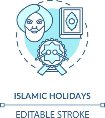 Islamic holidays concept icon. Religious celebrations in India, islam idea thin line illustration. Prophet muhammad, quran and festive drum vector isolated outline RGB color drawing. Editable stroke