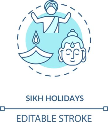 Sikh holidays concept icon. Indian religious festivals, traditions and culture celebration. Sikhism idea thin line illustration. Vector isolated outline RGB color drawing. Editable stroke