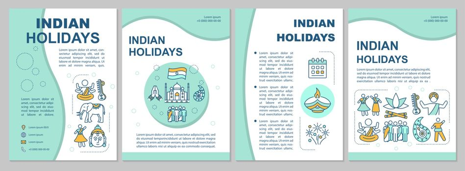 Holidays of India brochure template. Traditional indian festivals flyer, booklet, leaflet print, cover design with linear icons. Vector layouts for magazines, annual reports, advertising posters