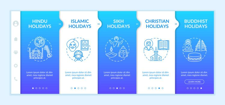 Indian religious holidays onboarding vector template. Christian and Buddhist holidays. Responsive mobile website with icons. Webpage walkthrough step screens. RGB color concept