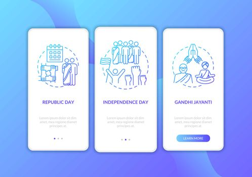 National Indian holidays onboarding mobile app page screen with concepts. Gandhi Jayanti. Walkthrough 3 steps graphic instructions. UI vector template with RGB color illustrations