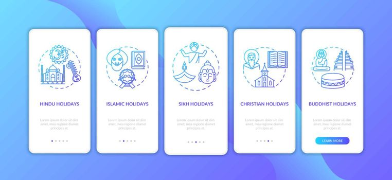 Indian religious holidays onboarding mobile app page screen with concepts. Sikh and Christian holidays. Walkthrough 5 steps graphic instructions. UI vector template with RGB color illustrations