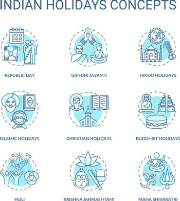 Indian holidays concept icons set. India customs and traditions idea thin line RGB color illustrations. National and religious festivals. Vector isolated outline drawings. Editable stroke