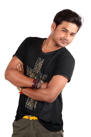 A smiling stylish young Indian model, on white studio background.