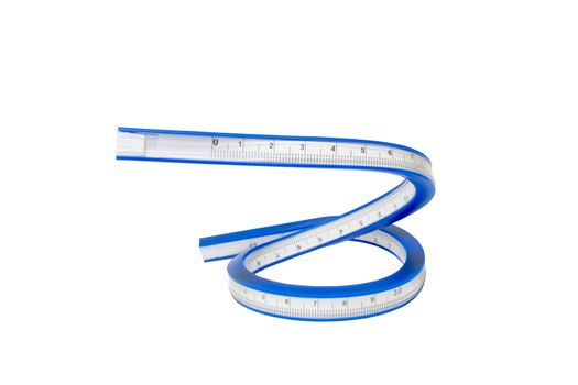 Flexible curve ruler on a white background