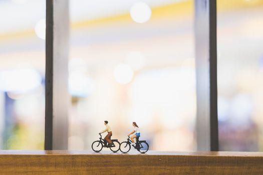 Travellers with bicycle on wood bridge