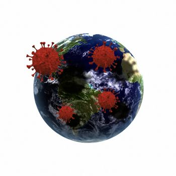 Covid molecules around planet Earth. 3D rendering