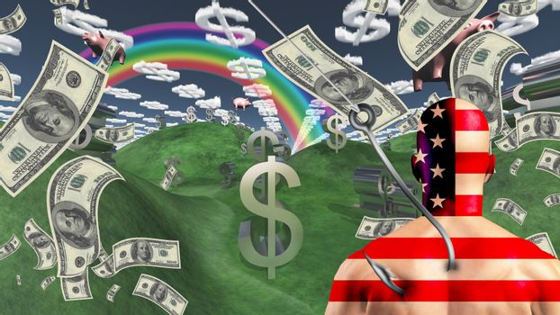 American man before wealth landscape