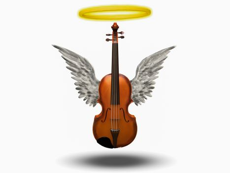 Violin with wings and halo