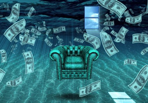 Strange Underwater Scene. Dollars and armchair.