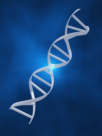 DNA strand on blue background